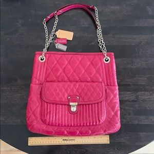 Coach hot pink quilted leather shoulder bag